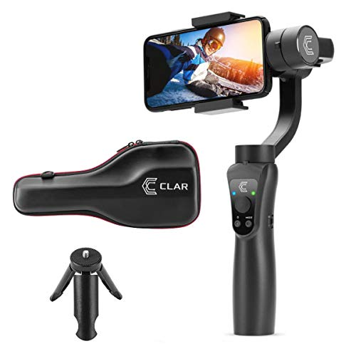 CLAR 3-Axis Handheld Stabilizer for Smartphone, for iPhone XR/XS MAX/X/8/8P, for Android, Time Lapse, Auto Tracking, Face Tracking - Includes Go Pro Mount