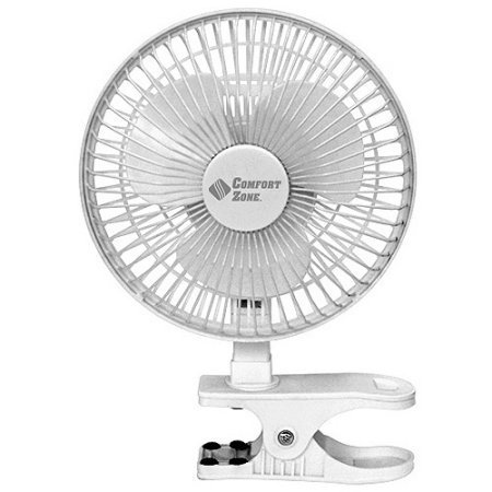 Bovado USA 6 INCH - 2 Speed - Adjustable Tilt, Whisper Quiet Operation Clip-On-Fan with 5.5 Foot Cord and Steel Safety Grill, White - By Comfort Zone by Bovado USA (Image #1)