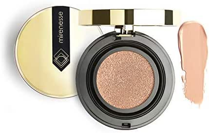 Mirenesse 10 Collagen Cushion Compact Airbrush Foundation Liquid Powder, Buildable Coverage, Instantly Flawless & Glowing Skin, Vegan & Toxin Free, Mocha 0.52oz