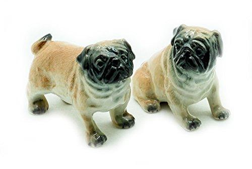 (Animal Miniature Handmade Porcelain Statue 2 Pug Dog Figurine Collectibles Gift)