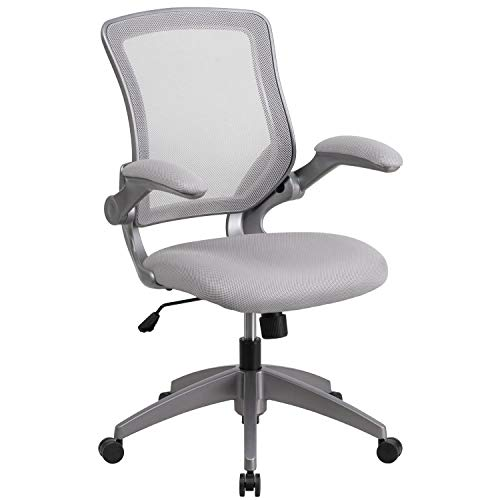 Mid Back Grey Mesh - Flash Furniture Mid-Back Gray Mesh Swivel Task Chair with Gray Frame and Flip-Up Arms