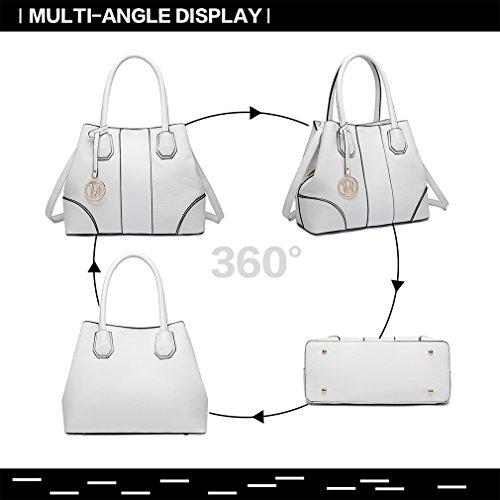 Main Lulu Top Femmes Poignée Miss Sacs Mode Faux blanc Patchwork Designer À Blanc Sac Spacieux Cuir wYq44dxv