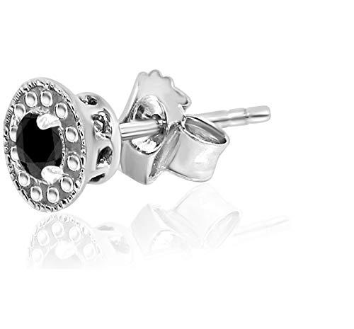 Natalia Drake Black Diamond Halo Stud Earrings (sterling-silver, 0.12)