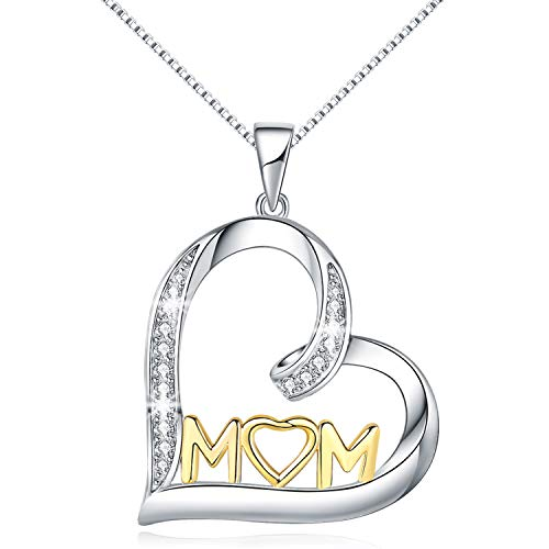 - MORANY Mom Necklace Sterling Silver Two-Tone Open Love Heart Pendant Womens Jewelry Mother Gift, 20 inch