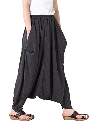 Mordenmiss Women's Casual Drop Crotch Harem Pants Gray, One size