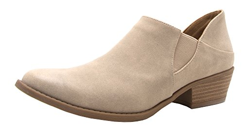 Women's Ankle Stone Closed Qupid Chunky Western Mid Stacked Bootie Heel Toe Almond d7wCzq