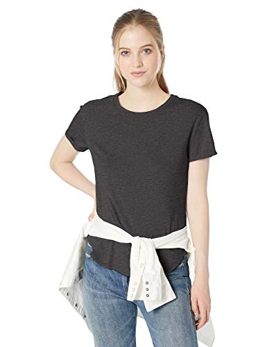Amazon Brand - Daily Ritual Women's Lived-in Cotton Roll-Sleeve Crewneck T-Shirt, Charcoal Heather,Large