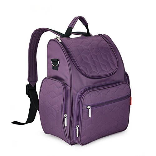 Baby 9 Pockets Diaper Backpack with Changing Pad and Stroller Straps, Large Multi-Function Backpack for Baby Care (iris Purple)