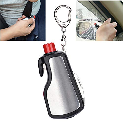 Light Up Life Keychain Car Escape Tool, Emergency Tool with Window Breaker and Seatbelt Cutter, 7 Functions in 1: Emergency Whistle, LED Flashlight, Knife, Flat-Blade, Ruler