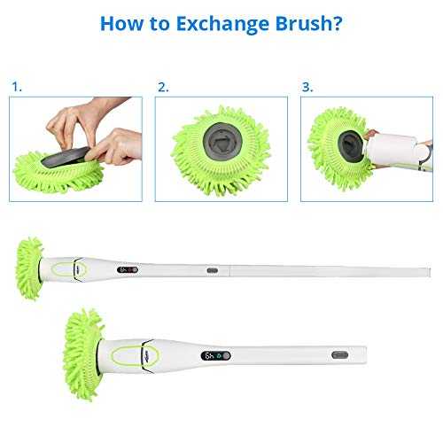 Spin Scrubber, ADPOW Upgraded Electric Spin Scrubber with LED Display, Cordless Power Household Extension Handle Shower Cleaner Including Scrubber Brushes Mops Sponge and Storage Rack by ADPOW (Image #5)