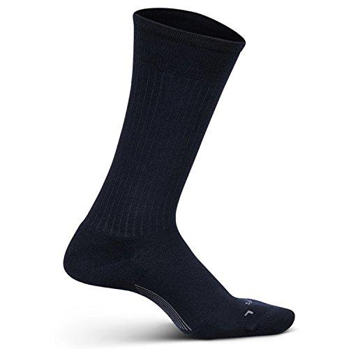 Feetures Men's Everyday Performance Dress Sock - Classic Rib Cushion Crew - Navy - Size - Dress Sock Mens Support