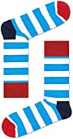 Happy Socks, Colorful Premium Cotton Classic Themed Socks for Men and Women, Stripe, Blue, 10-13