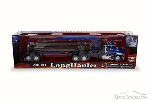 Mack CH Log Hauler, Blue - New Ray 13133C - 1/32 Scale Model Vehicle Replica ()