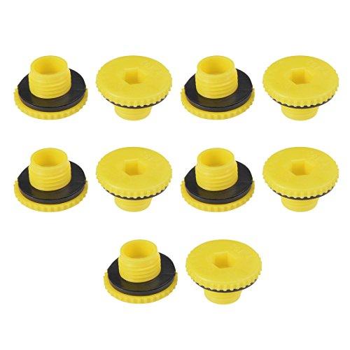 uxcell Hold Plugs,MLD-ZG1/4 G1/4 Hex Socket Design PE Plastic Male Threaded Sealing Cap Yellow 10pcs