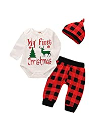 MAINESAKA 3Pcs My First Christmas Clothing Baby Boys Girls Rompers Outfits Set