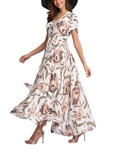 V fashion Women's Floral Maxi Dress Button Up Split Summer Boho Long Beach Dress -