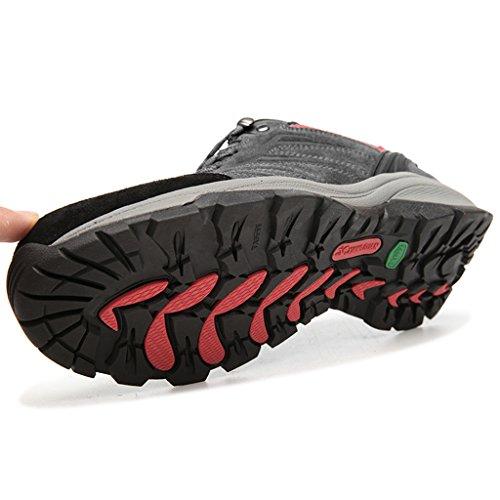 Zapatos de deporte y aire libre para montaña, calzados de cuero antideslizantes cómodos para hombre B92628 Gris