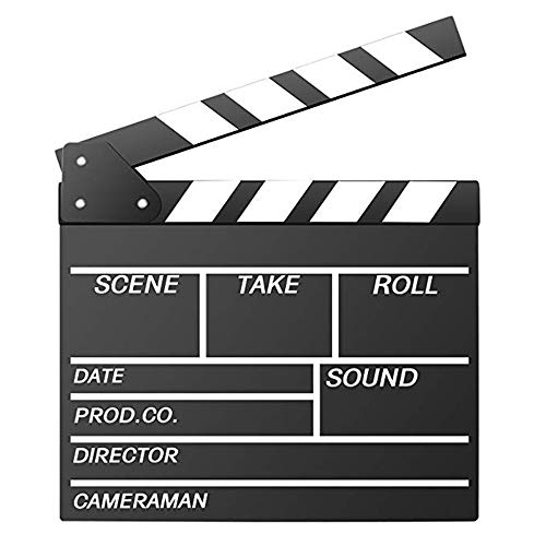 Movie Film Clap Board, Hollywood Clapper Board Wooden Film Movie Clapboard Accessory with Black & White, 12