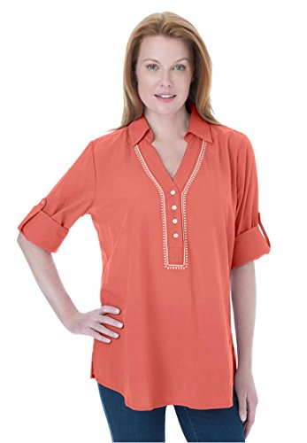 Women's Plus Size Embroidered Tunic Top With Half Placket (Dusty Coral,L)