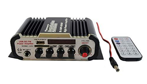 2 Channel Stereo PA Mini Amplifier Bluetooth USB SD Card FM Radio MP3 Audio