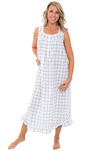 Alexander Del Rossa Women's Lightweight Cotton Lawn Nightgown - Long Victorian Style Pajamas, Full Length, Small Purple and Green Plaid ()