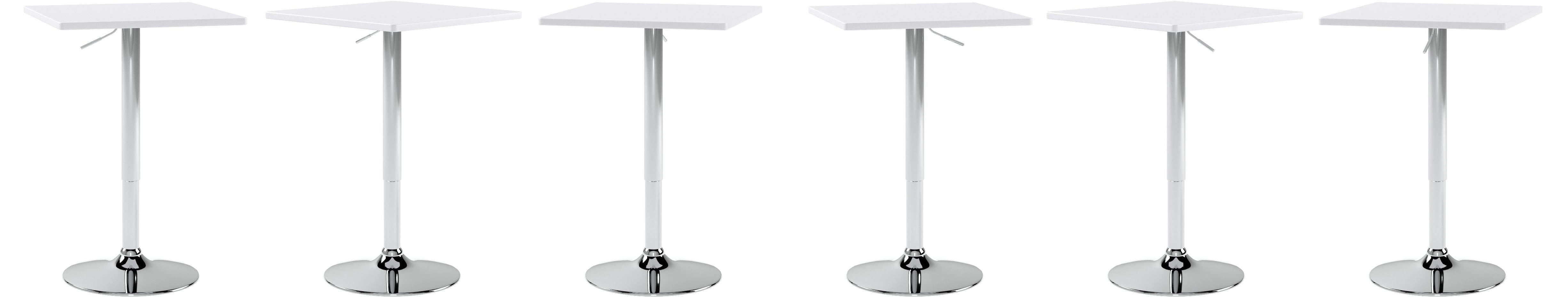 eSituro SBST122 12 x Bartisch Esstisch Küchentisch Stehtisch,  höhenverstellbar & 12° drehbar, Tischplatte 12x12 cm, Weiss