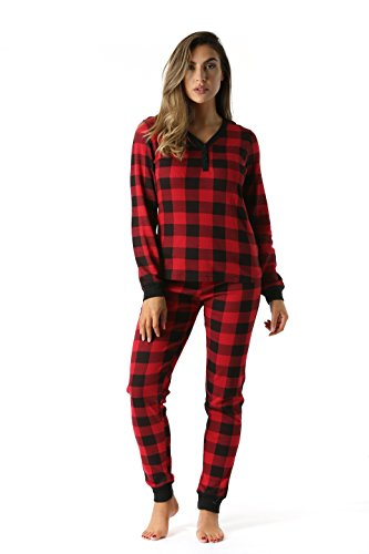- #followme Buffalo Plaid 2 Piece Base Layer Thermal Underwear Set for Women 6372-10195-NEW-RED-M
