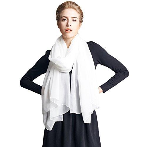 Ysiop Women 100% Silk Solid Scarf Oversize Sunscreen Shawl Infinity Beach Wrap