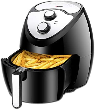 Euhomy 5.8 Quart Fryer-1800W-Electric Oil-Less Fryer with Smart Time Temperatu Cookbook, Black Air Cooker, 16.5 x 14.2 x 14.2 inches