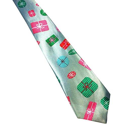 Lookatool Christmas Santa Tree Reindeer Print Floral Tie Xmas Festival Necktie