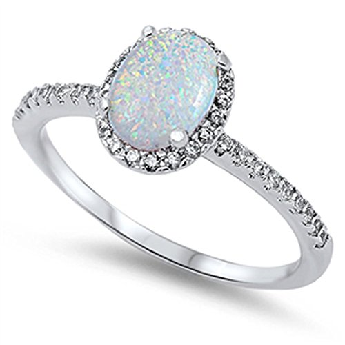 (Sterling Silver White Simulated Opal Solitaire Clear CZ Halo Wedding Ring Size)
