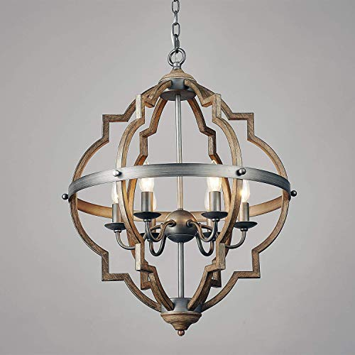 Saint Mossi Stardust Distressed Oak Finish Farmhouse Chandelier Lighting Flush Mount LED Ceiling Light Fixture Pendant Lamp Dining Room Bedroom Livingroom 6 E12 LED Bulbs Required Height 29 Width ()