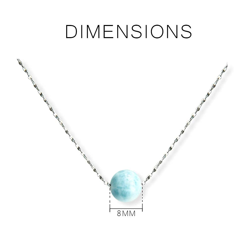 Tuoke Sterling Silver Larimar Necklace 14K White Gold Plated Chain Natural Gemstone Pendant for Women and Girl