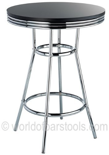 Costantino Detroit American Diner Style Retro Bar Table Black