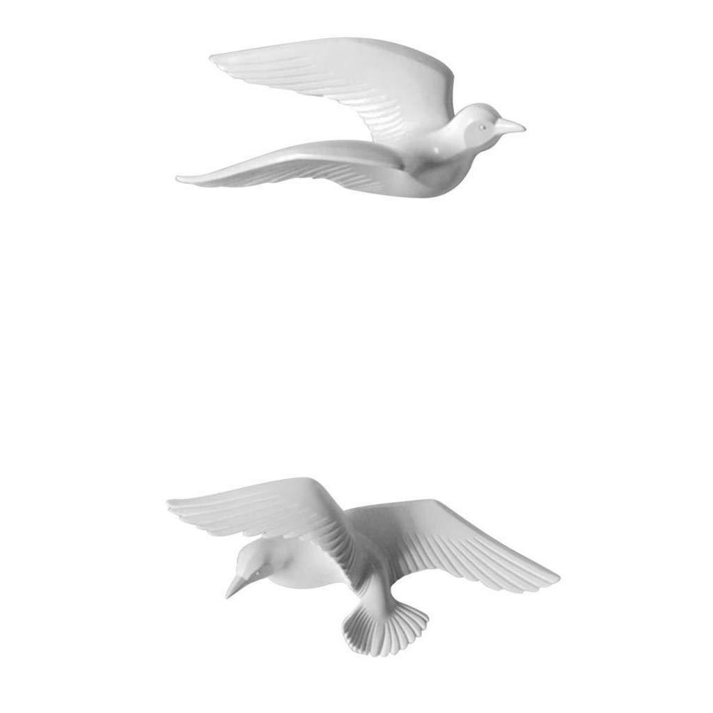 Sharplace Résine en Forme De Seagull Chambre à Coucher TV Fond Mur Décorations Blanches - #1 3pcs
