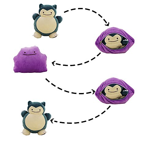 32cm Special Design Ditto Snorlax Plush Toy Metamon Inside-Out Ditto Becomes Snorlax Stuffed Doll Pillow Cushion]()