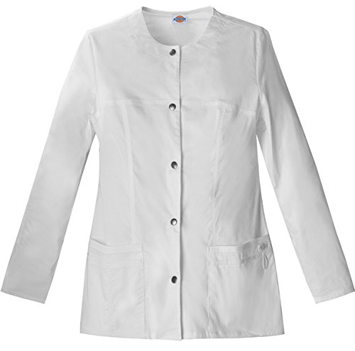 Dickies Women's Snap Front Warm-Up Jacket_White_X-Large,82409 (Nursing Uniform Jacket)