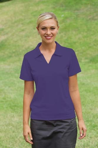 Whispering Pines Sportwear Ladies Moisture Wicking Polo Shirt, PURPLE, S from Whispering Pines Sportwear