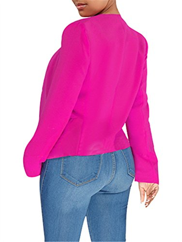GOBLES Women's Casual Long Sleeve Solid Work Suit Club Party Blazer Jacket Rose by GOBLES (Image #3)