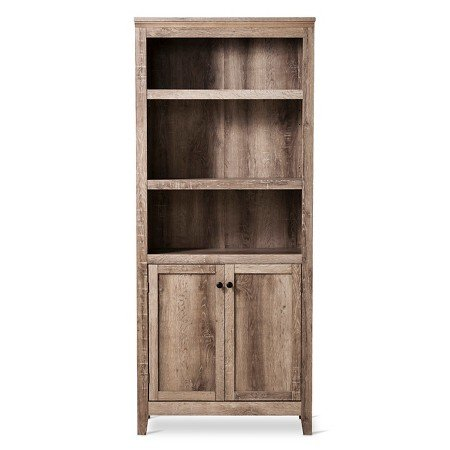 Carson 5 Shelf Bookcase with Doors Rustic Finish