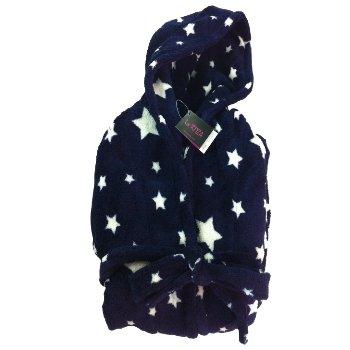 La Senza Ladies Navy Stars Dressing Gown Hooded Fleece Womens Robe ...