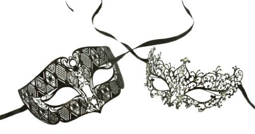 Kayso Inc Love Collection Couples Venetian Laser Cut Masquerade Mask Set, Aquarius