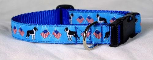 Designer Boston Terrier Dog Collar - Blue Boston Terrier Collar - Medium - Made in - Stores Boston Designer In