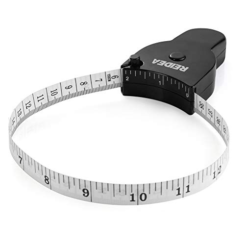 Body Measure Tape 60inch (150cm), Lock Pin and Push-Button Retract, Ergnomic and Portable Design, Black.