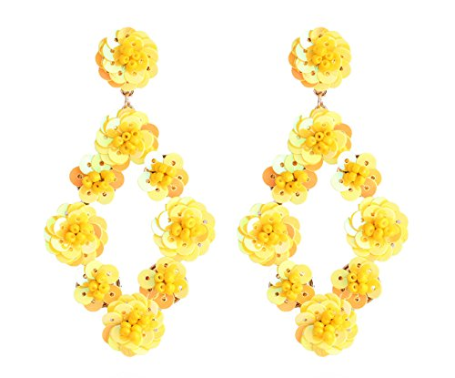 ELEARD ELEARD Flower Earrings Braided Sequin Dangle Earrings Handmade Floral Drop Earrings for Women Yellow (Yellow Jewelry Fashion)
