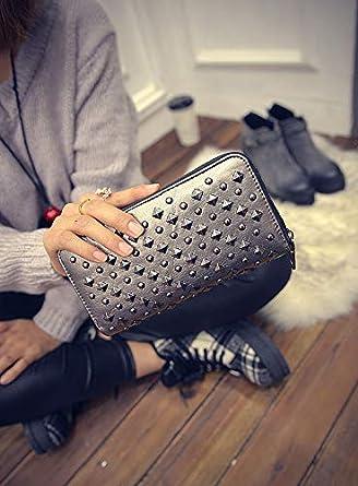 GGTFA Women Punk Style Spike Handbag Rivet Studded Long Wallet Case Organizer