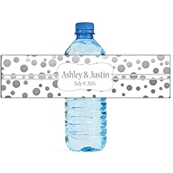 "100 Silver Confetti White Background Wedding Water Bottle Labels Engagement Party 8""x2"""