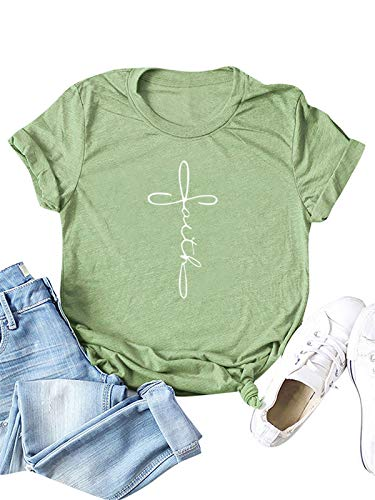 Festnight Womens Faith Letter Print T Shirts Casual Short Sleeve Graphic Tees Summer Cotton Tops Dark Green