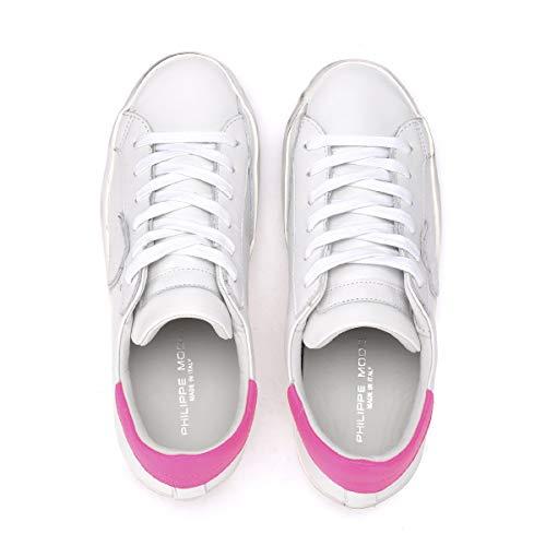 Sneaker Paris Bianca Fluo Pelle Model E Bianco In Fucsia Philippe ORg5xE