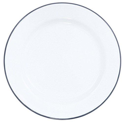 - Enamelware Flat Salad Plate, 8 inch, Vintage White/Grey (4)